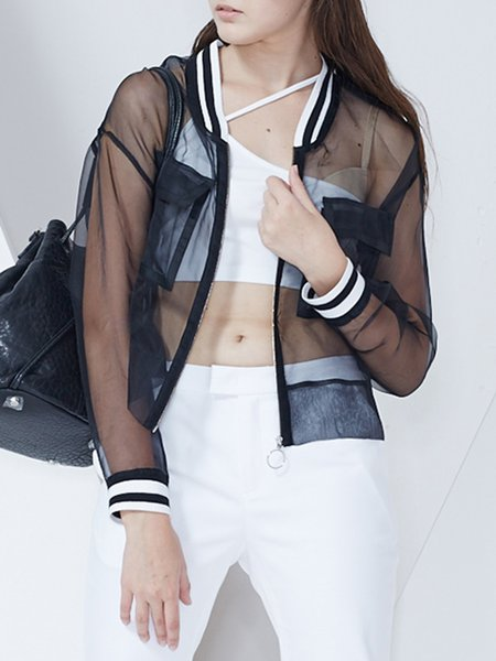 See-through Look Stand Collar Paneled Stripes Casual Silk Long Sleeve Cropped Top