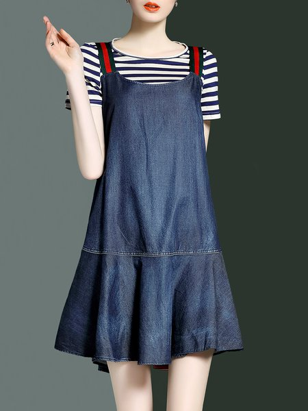 Stripes Shorts Sleeve Printed Spaghetti Two Piece Dress With T-shirt