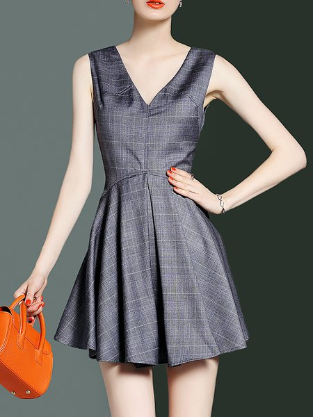 Gray V Neck Plaid Sleeveless Mini Dress
