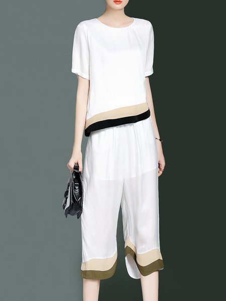 White Short Sleeve Printed Polyester Crew Neck Top With Pants