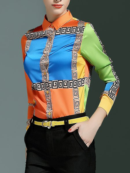 Multicolor Shirt Collar Casual Printed Blouse