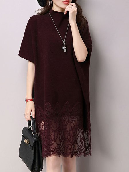 Guipure lace Paneled Burgundy Casual High Low Crew Neck  Midi Dress