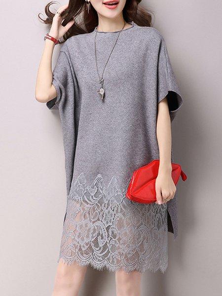 Paneled Batwing Guipure Lace Midi Dress