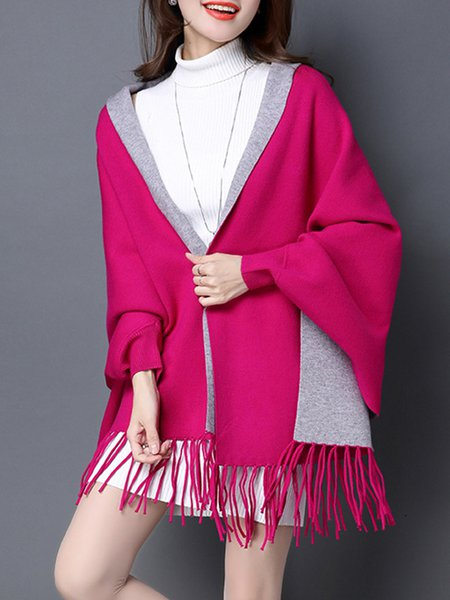 Batwing Casual Fringed Poncho And Cape