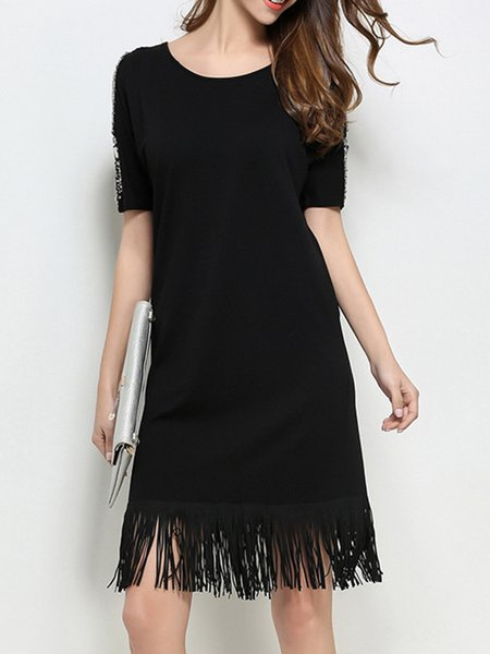 Fringed Beaded Cold Shoulder Casual Knitted Cotton Sweater Dress