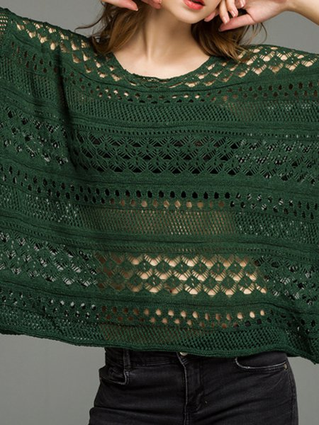Knitted Green 3/4 Sleeve Pierced Solid Sweater