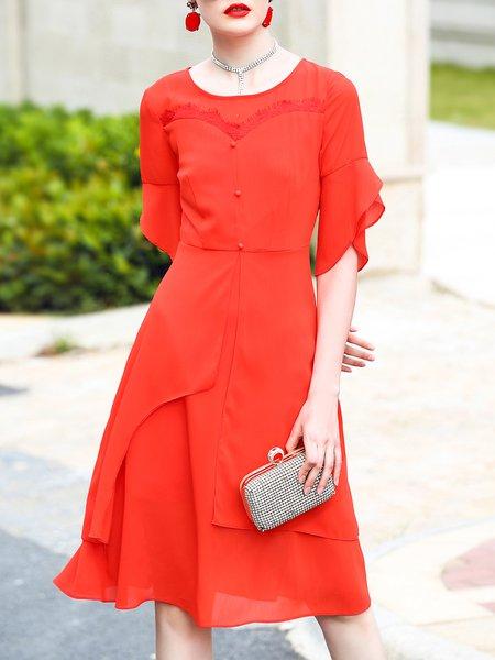 Red Crew Neck Half Sleeve Asymmetric Midi Dress