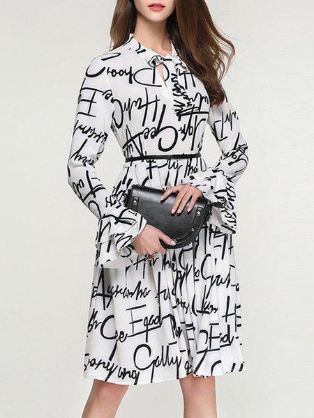 White-black Printed Letter Bell Sleeve Midi Dress With Belt