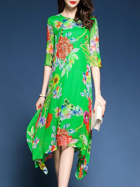 Asymmetric Crew Neck Shift Casual Floral-print Midi Dress