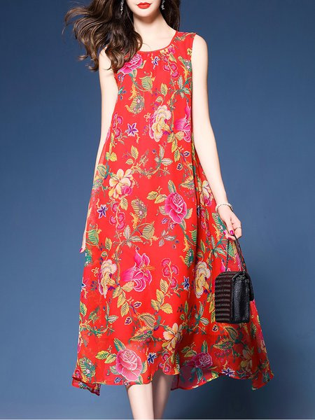Red Sleeveless Floral-print Midi Dress