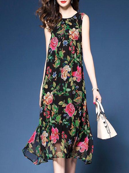 Multicolor Floral-print Sleeveless Polyester H-line Midi Dress