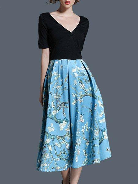 Black-blue V Neck Floral-print Short Sleeve Midi Dress