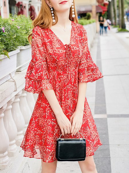 Red Bell Sleeve A-line Floral Mini Dress