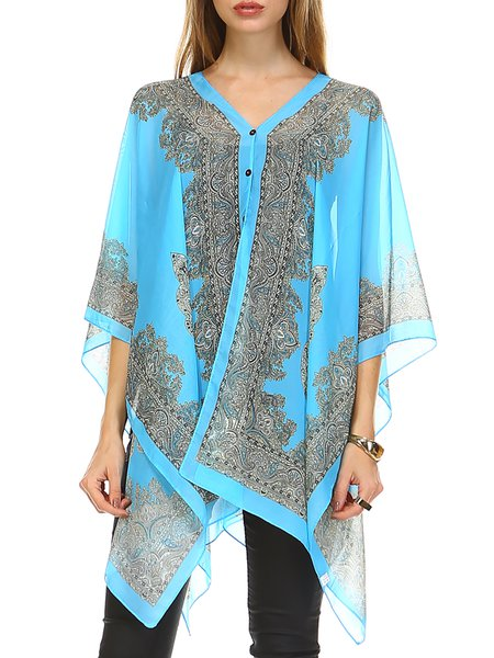 Half Sleeve Asymmetrical Printed Abstract Resort Kimono