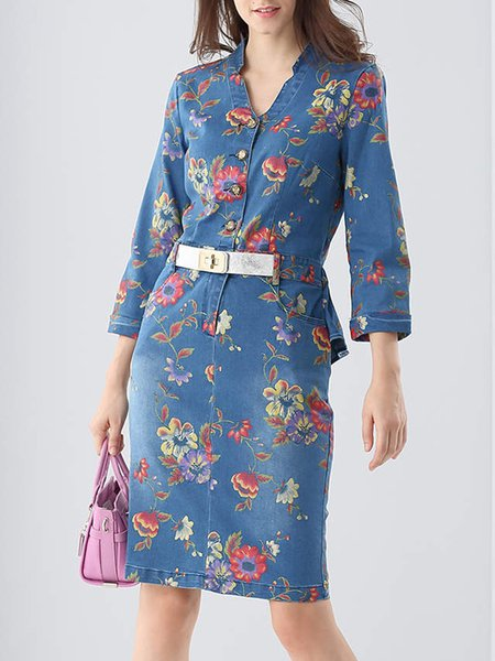 Blue 3/4 Sleeve Floral-print V Neck Midi Dress