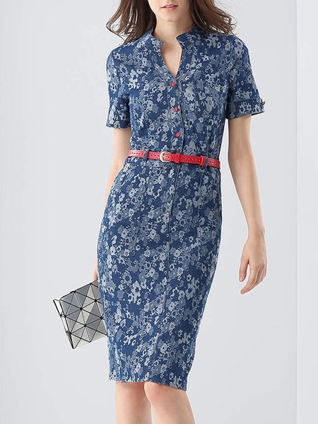 Casual Short Sleeve Floral-print Midi Dress