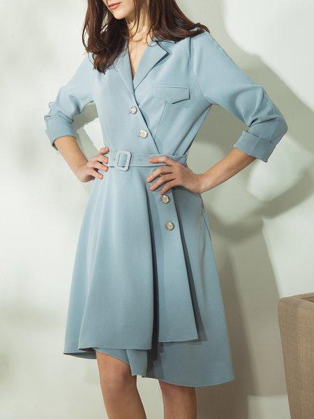 Light Blue A-line Surplice Neck Work Asymmetric Midi Dress With Belt