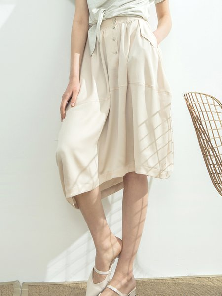 Beige Casual Asymmetrical Midi Skirt