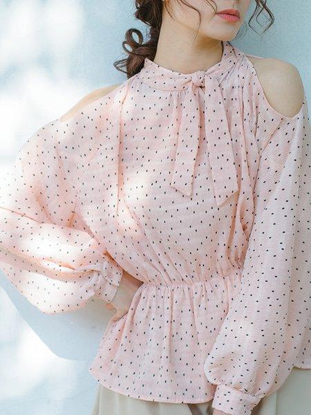Pink Polka Dots Girly Cold Shoulder Blouse