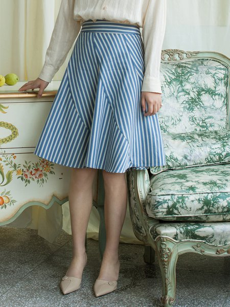 Blue A-line Stripes Casual Midi Skirt