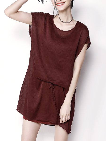 Shorts Sleeve Solid  H-line Mini Dress