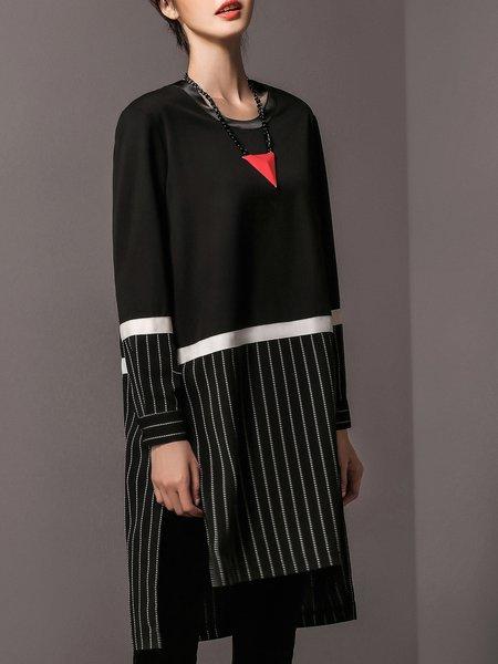 Black Paneled Stripes Crew Neck Casual Midi Dress