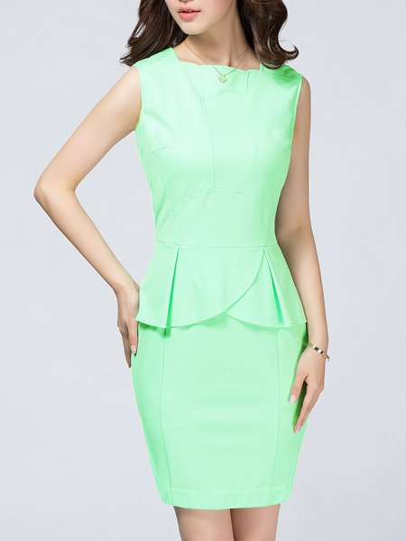 Light Green Bodycon Paneled Casual Nylon Mini Dress