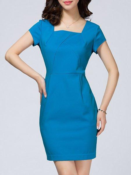Blue Short Sleeve Square Neck Solid Sheath Mini Dress
