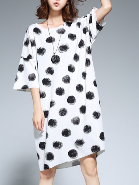 White Casual Printed H-line Midi Dress