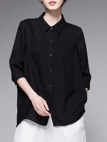 Black Solid Casual Top