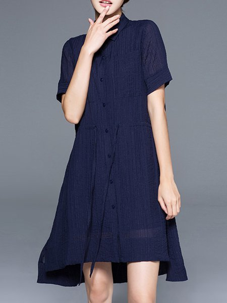 Short Sleeve Casual Solid Midi Dress