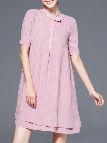 Pleated Short Sleeve A-line Midi Dress