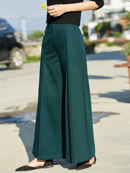 Solid Casual Cotton Wide Leg Pant