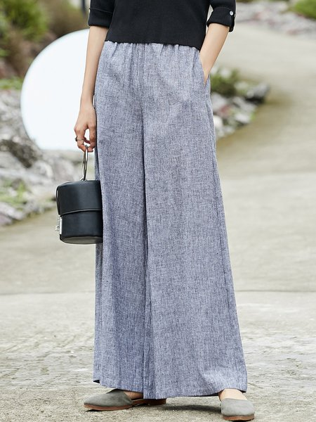 Solid Casual Ribbed Cotton Wide Leg Pant