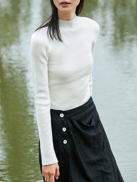 Slit Casual Acrylic Turtleneck Long Sleeve Sweater