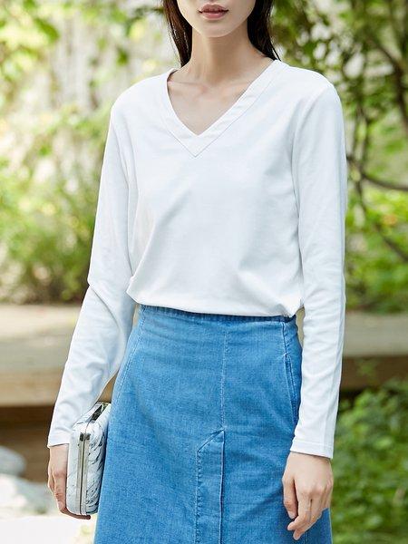 Long Sleeve Cotton-blend V-Neck Top