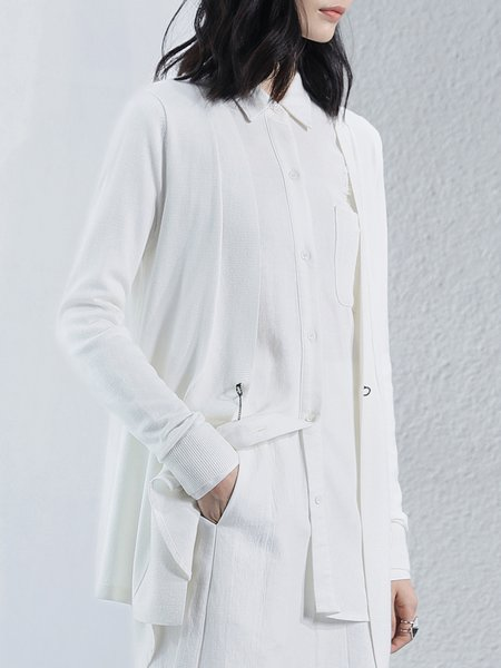 Chain-trimmed Solid Knitted Long Sleeve H-line Cardigan