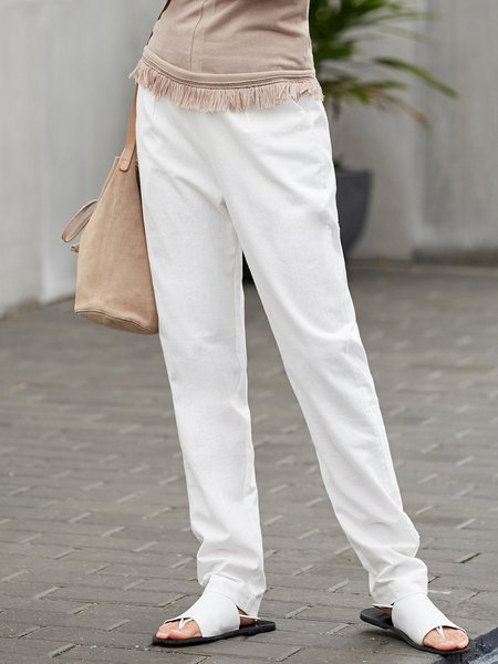Casual Solid Zipper Cotton Straight Leg Pant