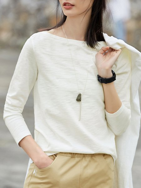 Simple boat Neck Long Sleeve Cotton Top