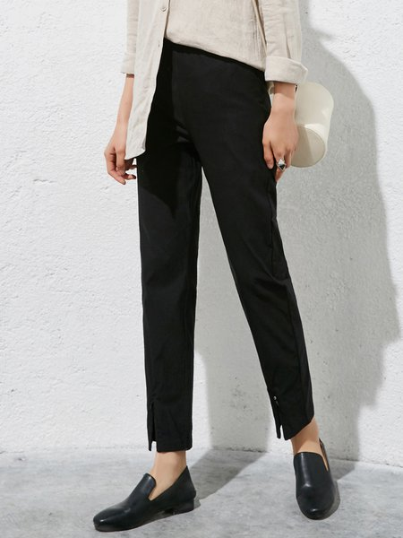 Solid Casual Slit Straight Leg Pants