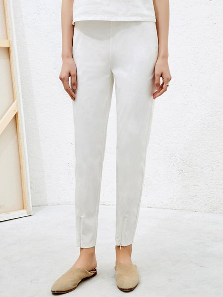 Slit White Solid Viscose Casual Straight Leg Pant