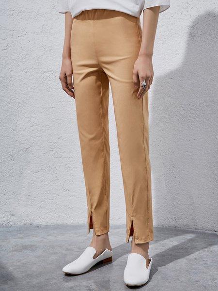 Casual Nylon Solid Slit Straight Leg Pant