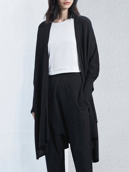 Knitted Black Shift Batwing Slit Solid Cardigan