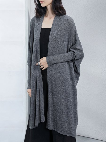 Knitted Black-grey Solid Shift Simple Slit Cardigan