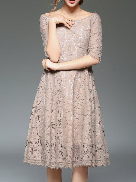 Guipure lace Bateau Neck Elegant Midi Dress