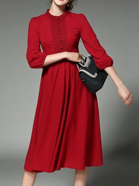 Red Appliqued Elegant A-line Midi Dress