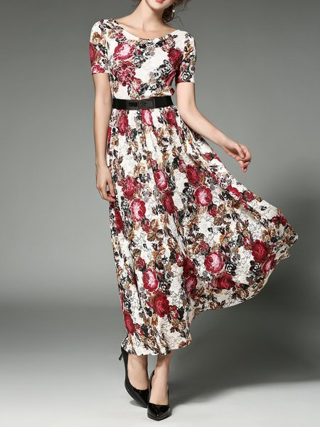 Multicolor Casual Polyester Floral-print Maxi Dress