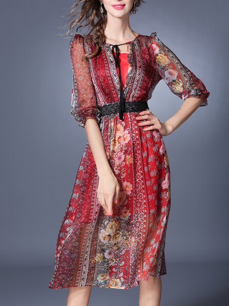 Multicolor Plunging Neck Boho Guipure Lace Floral Boho Holiday Dress