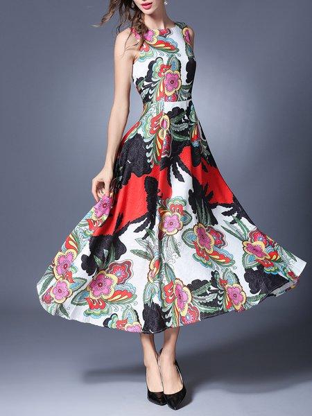 Floral-print Crew Neck Sleeveless Elegant Midi Dress