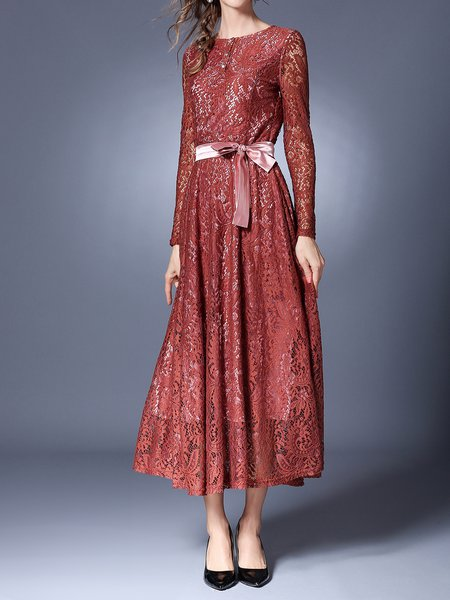 Elegant Long Sleeve Guipure Lace Maxi Dress